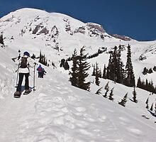 Snowshoeing at Paradise, Mt. Rainier National Park by Barb White