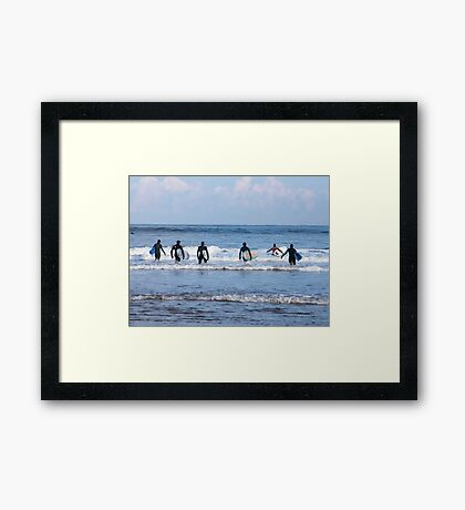 INTO THE SURF? Framed Print