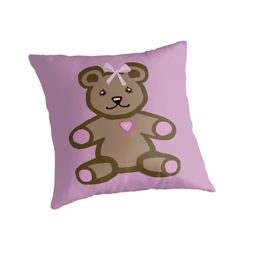 Teddy bear with a pink bow by goanna