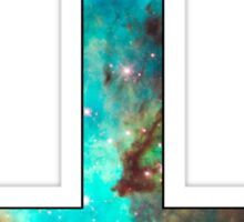 Green Galaxy Inverted Cross Sticker