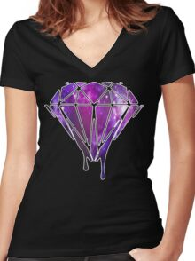 Melting Galaxy Diamond  Women's Fitted V-Neck T-Shirt