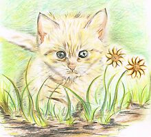 Kitty amongst the Flowers by Teresa White