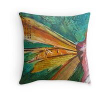 Elegant painted fairy with expansive wings Throw Pillow