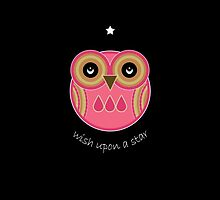 Wish Upon A Star Pink Owl Card by Louise Parton