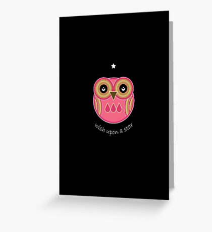 Wish Upon A Star Pink Owl Card Greeting Card