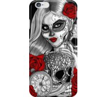 Day of the dead sugar skull girl with skulls rose & pocketwatch iPhone Case/Skin