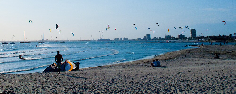 Kite Surfers take over the sky of Melbourne #1 by Mark Elshout