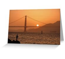 Golden Gate Golden Sunset Greeting Card