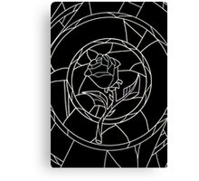 Stained Glass Rose Black Canvas Print