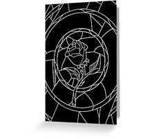 Stained Glass Rose Black Greeting Card