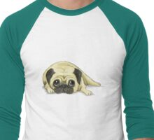 A Pug Waiting For His Dinner Men's Baseball ¾ T-Shirt