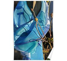 Hand painted silk abstract pattern in blue Poster