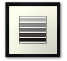 Modern black gray gadient trendy stripes pattern Framed Print