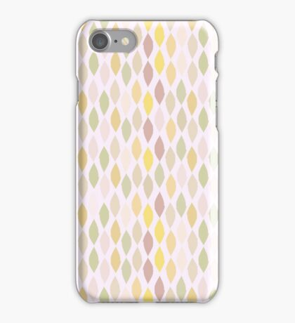 Abstract retro pastel pink green leaves pattern iPhone Case/Skin