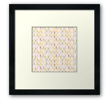 Abstract retro pastel pink green leaves pattern Framed Print