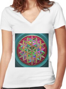 The Flower of Living Metal Women's Fitted V-Neck T-Shirt