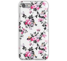 Elegant vintage pink gray black flowers pattern iPhone Case/Skin