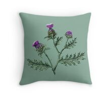 Thistle on Sage green  Throw Pillow