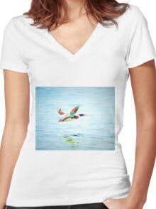 Merganser In Flight Women's Fitted V-Neck T-Shirt