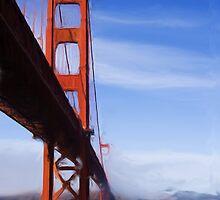Golden Gate Bridge as pseudo oil painting by Sue Leonard