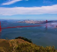 Golden Gate Bridge as pseudo oil painting by Susan Leonard