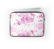 Vintage girly pink white flowers painting Laptop Sleeve