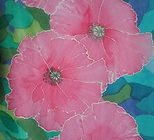 Pink poppies hand painted silk drawing by Jan Campbell