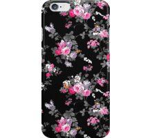 Vintage chic pink gray black flowers pattern iPhone Case/Skin