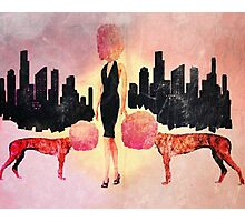Surreal life cotton candy glam woman and her dogs Photographic Print