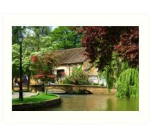 Idyllic village scene as pseudo oil painting Art Print