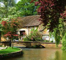 Idyllic village scene as pseudo oil painting by Sue Leonard