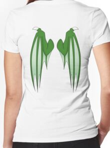 Dragon wings - green Women's Fitted V-Neck T-Shirt