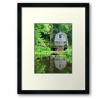 Boathouse on the Lake as pseudo oil painting Framed Print