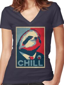 Vote Sloth Women's Fitted V-Neck T-Shirt