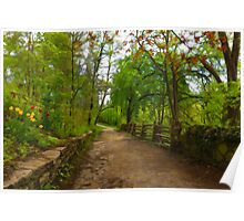 Dreamy Forest Road With Flowers - Impressions Of Spring Poster
