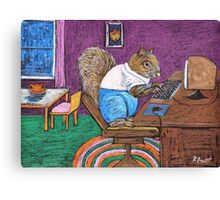 Squirrels on Computers Canvas Print