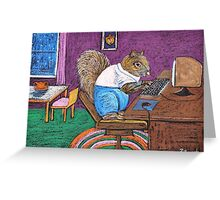 Squirrels on Computers Greeting Card