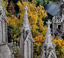 Spires against Autumn Trees by Karen  Betts