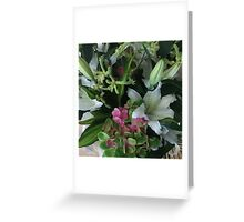 White Lily and Hydrangea Bouquet Greeting Card