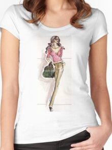 Metropolitain woman  fashion sketch  Women's Fitted Scoop T-Shirt