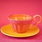 Pink and yellow vintage teacup & saucer by Zoë Power