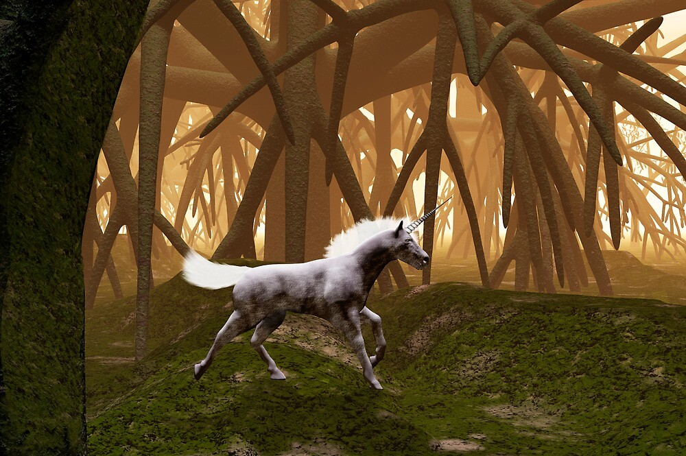 Unicorn in an enchanted forest by Carol and Mike Werner