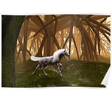Unicorn in an enchanted forest Poster
