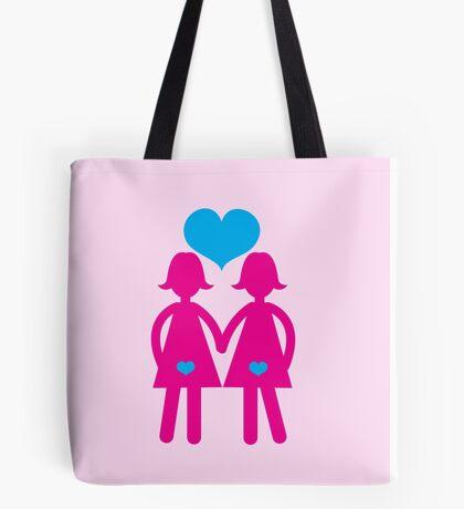 Lesbian girls love hearts together Tote Bag