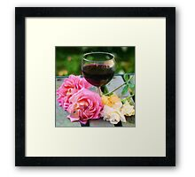 Wine glass with roses as pseudo painting Framed Print