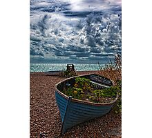 Old Beached Fishing Boats On a Cloudy Day Photographic Print