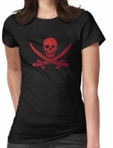 Pirate Flag Skull and Crossed Swords by Chillee Wilson Womens Fitted T-Shirt