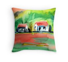 Psychedelic Cottages Throw Pillow