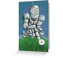 Daisy Picking Robot Greeting Card