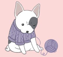 French Bulldog in a Knitted Jumper One Piece - Long Sleeve